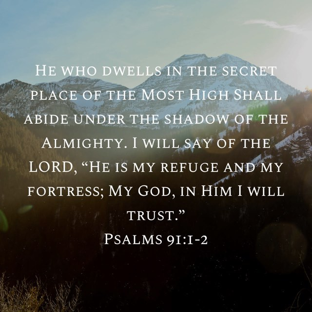 """His nearness may look like a shadow. Don't doubt His abiding!  Declare it! Say of the Lord """"He is my refuge, my strength, my God!"""" Remain aware of the spirit of God on our lives.... The Lord says, """"Because he has set his love upon Me, therefor I will deliver him."""" Psalm 91 - read the whole thing and let it encourage you! . . . . ."""