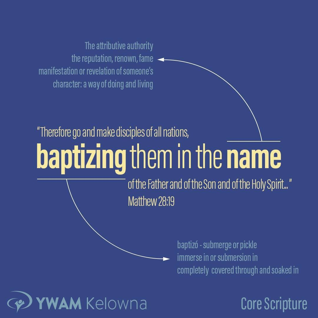 Imagine being deeply soaked to the core of every cell in your body in the reputation, revelation, and authority of God's nature and character.  This is discipleship:  To baptize (submerging, pickling, soaking) people in the name (reputation, authority, experience) of Jesus.  Matt 28:19 YWAM Kelowna is built around this principle — to submerge/soak people in His name/reputation/authority — by experience, study, and practice. Join us for our Discipleship Training School (DTS) called Burning Lights DTS this Sept and get pickled in the Father, the Son, and the Holy Spirit.  . . . . www.ywamkelowna.org